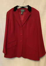 New listing Ralph Lauren Women's Red Black Velvet Equestrian Riding Blazer Jacket Sz 18 W