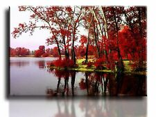"Large Wall Art Canvas Picture Print of Red Trees Lake Framed 20""x30"""