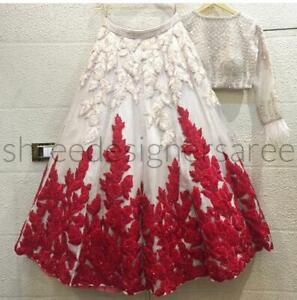 White Lengha Red Flowers Designer Lehenga Choli Wedding Bridal Wear Sari Lehanga