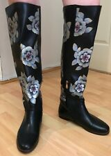 Black Knee High Womens Boots Shoes Floral Side Zip Low Heel New Size 7.5 - 8