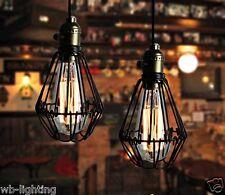 Vintage Retro Industrial Cage Black Metal Ceiling Lamp Pendant Light Chandelier