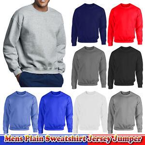 Mens Plain Sweatshirt Jersey Jumper Sweater Pullover Work Casual Plus Size Top