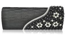 Black Ladies Handbag Plicated Evening Bag of Diamante Pearl Beads Decoration
