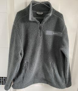Mens Craghoppers Thick Pile Sherpa Fleece Top Jacket Grey 1/4 zip Large Vintage?