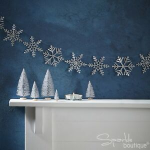 SILVER GLITTER SNOWFLAKE GARLAND - Christmas Bunting/Banner/Hanging Decoration