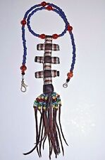 Tassel Pendant Necklace Niger, Africa Tuareg Wodaabe Tribal Leather Talisman