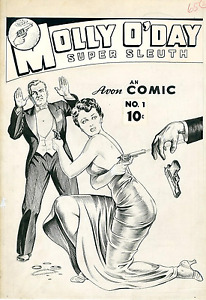 Molly O'Day Original cover art issue #1 1945 1st comic produced by Avon  VF+