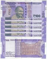 LOT OF 5 CONSECUTIVE 100 RUPEES INDIA BANKNOTE NEW ISSUE NEW PATTERN 2018 IN UNC