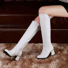 Womens Knee-High Boots Block Heels Leather Riding Combat Punk Boots
