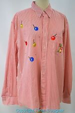 MiLi Designs Blouse button up Shirt Top Embellished Ugly Christmas oranments L