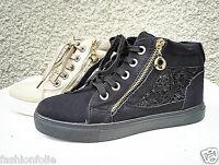 Baskets montante dentelle femme chaussure fille lacet talon plat mode zip MD1312