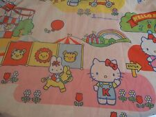 Sanrio Hello Kitty Twin Bed Fitted Sheet Fabric Vintage 1983 Circus Fair Bedding