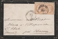 """1871 - FRANCIA BUSTA DA VERSAILLES A CHARGNY NAPOLEONE """"LAUREATO"""" 10C. COPPIA"""