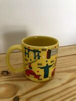 Oxford made in brasil brasil coffe mug pictures of Brazil monuments yellow