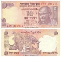 India 10 Rupees 2011 P-95v (Letter S) Very Low Serials 0000XX Banknotes  UNC