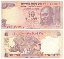 Inde 10 Roupies 2011 P-95w (lettre S) très faible Serials 0000XX billets UNC