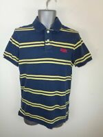 MENS SUPERDRY NAVY BLUE/YELLOW STRIPED BUTTON UP SHORT SLEEVED POLO SHIRT MEDIUM