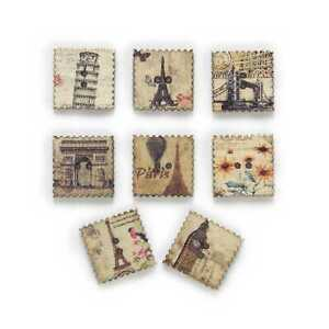 30pcs Square Wood Buttons Sewing Scrapbooking Handwork Home Decor 20mm