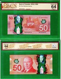 Canada - 2012 Bank of Canada $50 Dollar BC-72a Banknote BCS64 ChoiceUNC Original