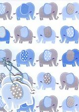 Baby Boy 2 Sheets of Gift Wrap Wrapping Paper 2 Tags 3 Designs Choices 1stp&p Elephants