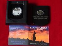 AUSTRALIA.  2013  $1 Kangaroo at Sunset - 1/5oz  Silver.. Proof.. Cased