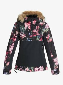 Roxy Shelter Snow Jacket - Youth Girls - 12/L / True Black Blooming Party (KVJ6)