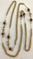 "Vtg Gold Tone 54"" Long Multi Chain Necklace w/ Brown Round Beaded Link Design"