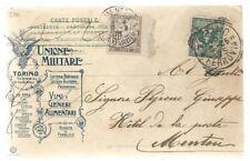 1905 - Cartolina da TORINO - FERROVIA per MENTONE - TASSATA