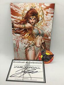 INVINCIBLE RED SONJA #1 JAMIE TYNDALL SIGNED VIRGIN VARIANT Dynamite Comics 2021