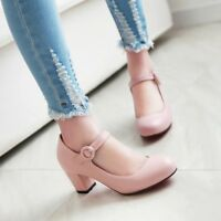 Womens Round Toe Block Med Heels Buckle Ankle Strap Mary Jane Shoes EUR 35-43