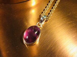 Genuine 925 Sterling Silver and Natural Amethyst Gemstone Pendant