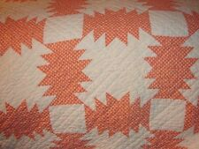 Antique Handcrafted Hand Quilted Quilt - Pineapple Patchwork 100% cotton full