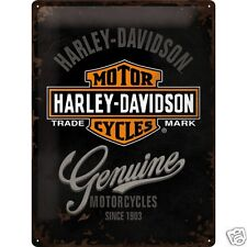 Harley Davidson Logo (Black) - 3D Metal Wall Sign. Size : 30cm by 40cm