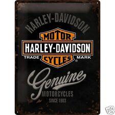 Harley Davidson Logo (Black) - 3D Metal Wall Sign. Size : 30cm by 40cm