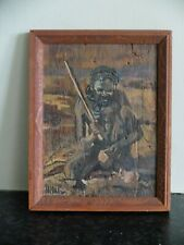 More details for vintage oil painting on bark of australian aborigine in wood frame with symbols