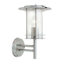 Saxby York 60w Polished Stainless Steel Ip44 Outdoor Garden Lantern Wall Light