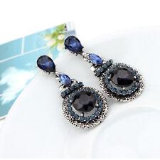 Fashion Retro Women Lady Blue Gem Crystal Rhinestone Dangle Earrings Gift