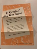 VINTAGE TO PARENTS OF NEW BORN BABIES FOLD-OUT PAMPHLET PAGE MINN. HEALTH DEPT