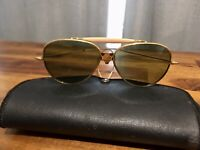 Vintage Aviator Style Sunglasses With Wings on Front Shield Blue Green Lenses