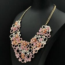 New Fashion 18K Gold GP Peach Crystal Hollow Chain Bib Statement Necklace 05063