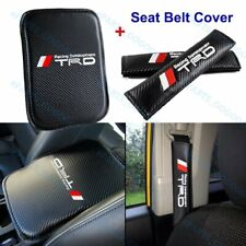 Embroidery JDM TRD Carbon Car Center Console Armrest Cushion Mat Pad Cover Combo