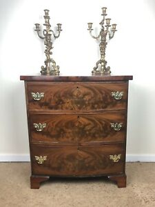 Stunning Antique Solid Bow Front Chest Of Drawers With Original Brass Handles
