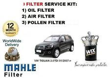 FOR VOLKSWAGEN VW TIGUAN 2.0TDi 2007--> OIL AIR POLLEN FILTER SERVICE KIT