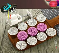75g Round Baking Mooncake DIY Mold Pastry Biscuit Cake Mould Fower With 8 Stamps