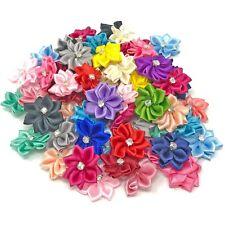 25mm Satin Ribbon Flowers with Rhinestone Diamante Centre, Craft Flowers