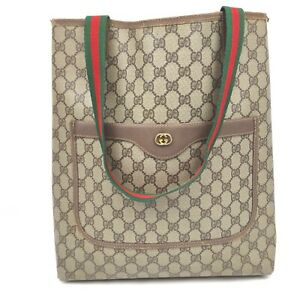 Vintage Gucci Tote Bag GG Sherry Browns PVC 632885