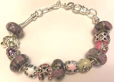 ❤️European CHARM BEADS BRACELET Murano LAMPWORK GLASS  Silver Plated GORGEOUS❤️