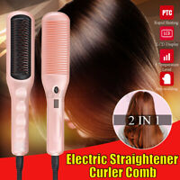 2 IN 1 Electric Hair Straightener Quick Heated Comb Curler Brush Curling Irons