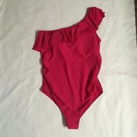 Motherhood Maternity Pink L One Piece Ruffle Front One Shoulder Swimsuit NWT