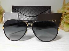 0c49437d08f Gucci GG2887S UZA JJ Leather Aviator Black Gold Sunglasses MADE  ITALY   545 NEW